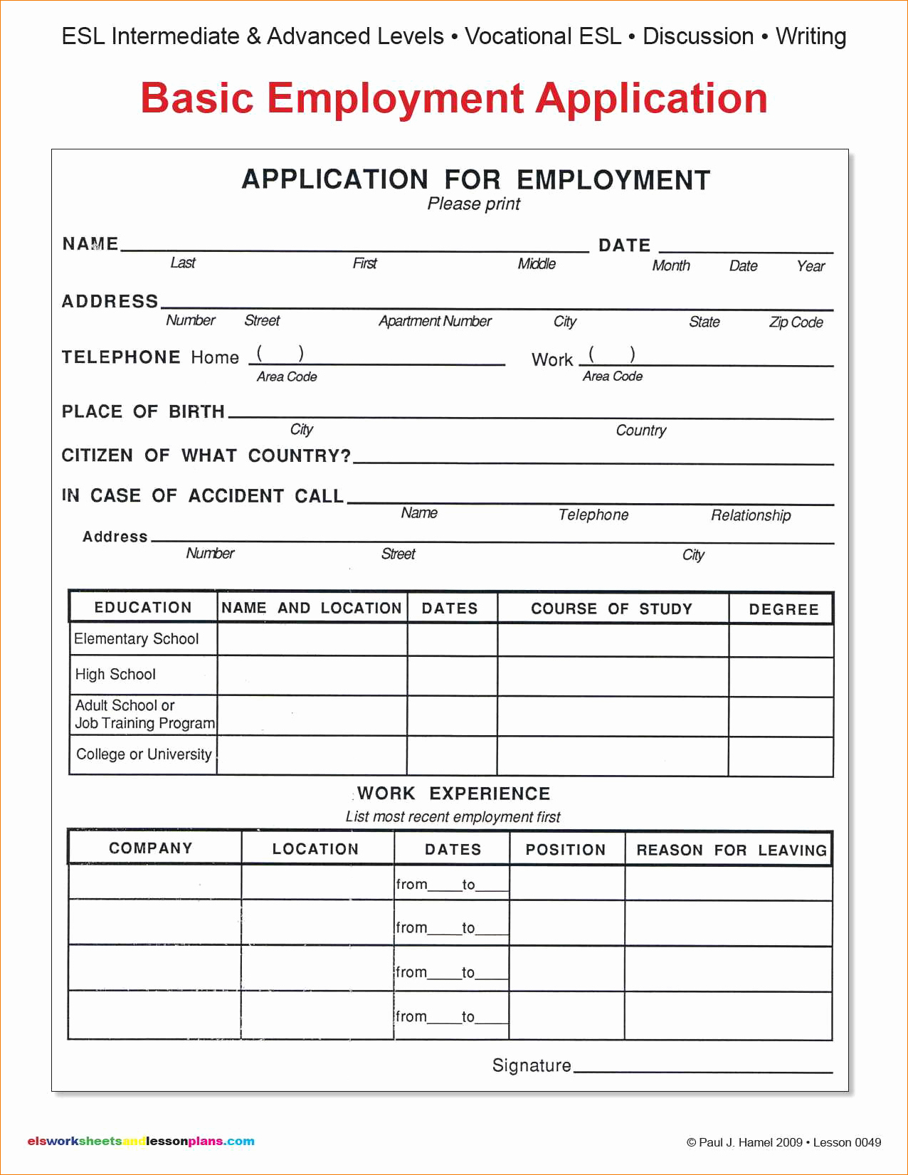 Simple Job Application Template Free Best Of 9 Basic Application for Employmentagenda Template Sample