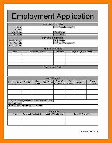 Simple Job Application Template Free Fresh 7 Free Printable Employment Application form Pdf