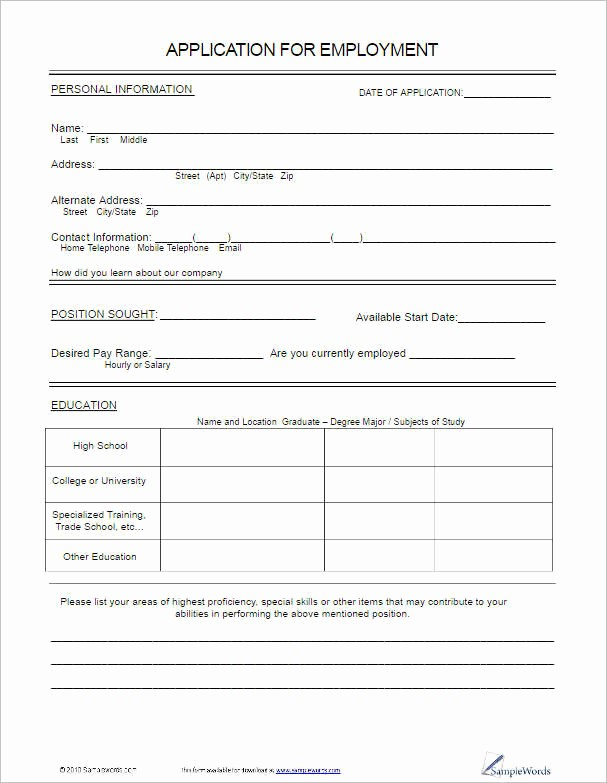 Simple Job Application Template Free Lovely 22 Employment Application form Template Free Word Pdf