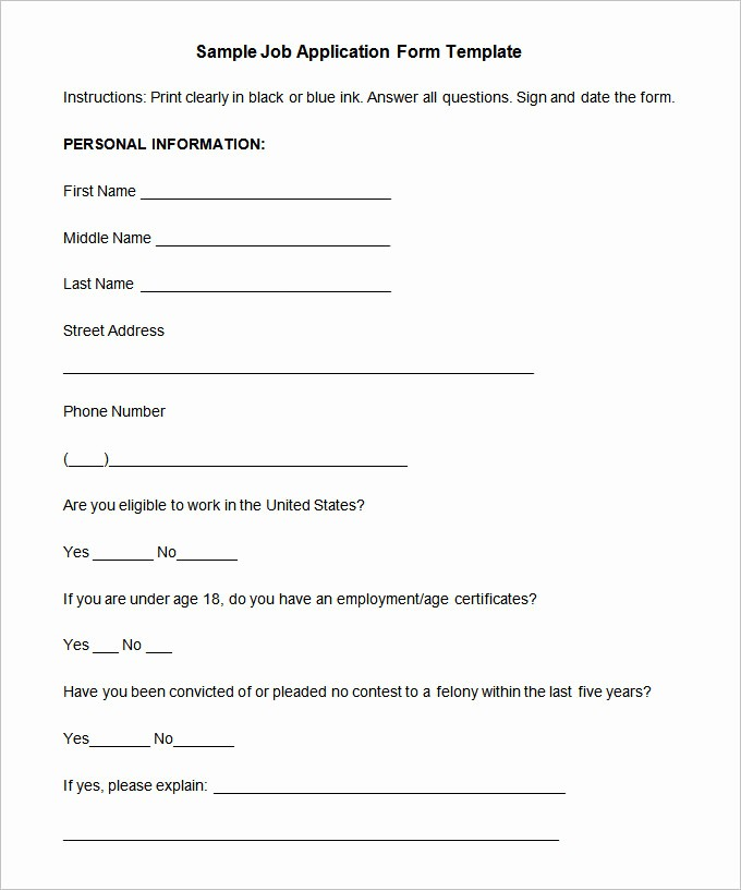 Simple Job Application Template Free Lovely Job Application Template – 10 Free Word Pdf Documents