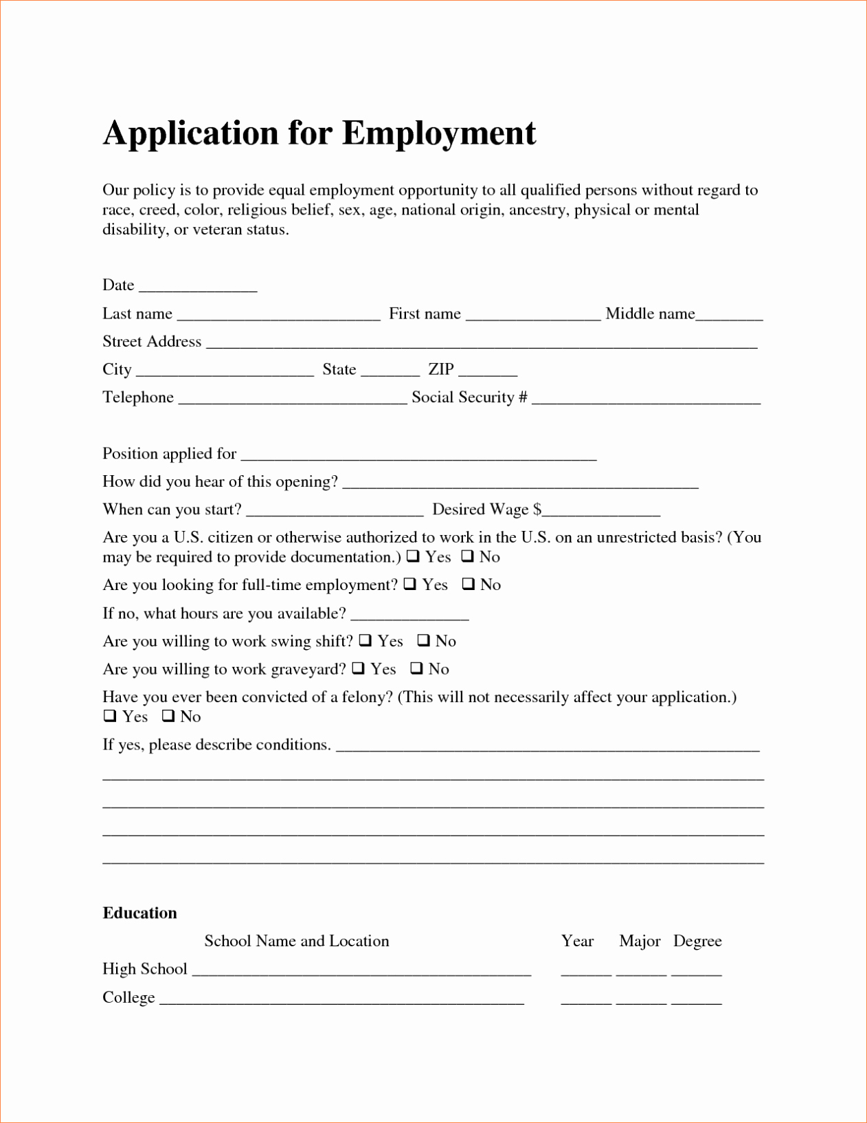 Simple Job Application Template Free Luxury Free Employment Job Application form Template Sample