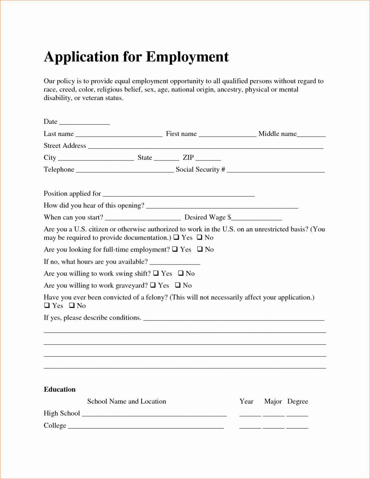 Simple Job Application Template Free Luxury Free Employment Job Application form Template Sample