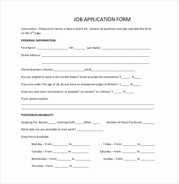 Simple Job Application Template Free Unique Simple Job Application Template