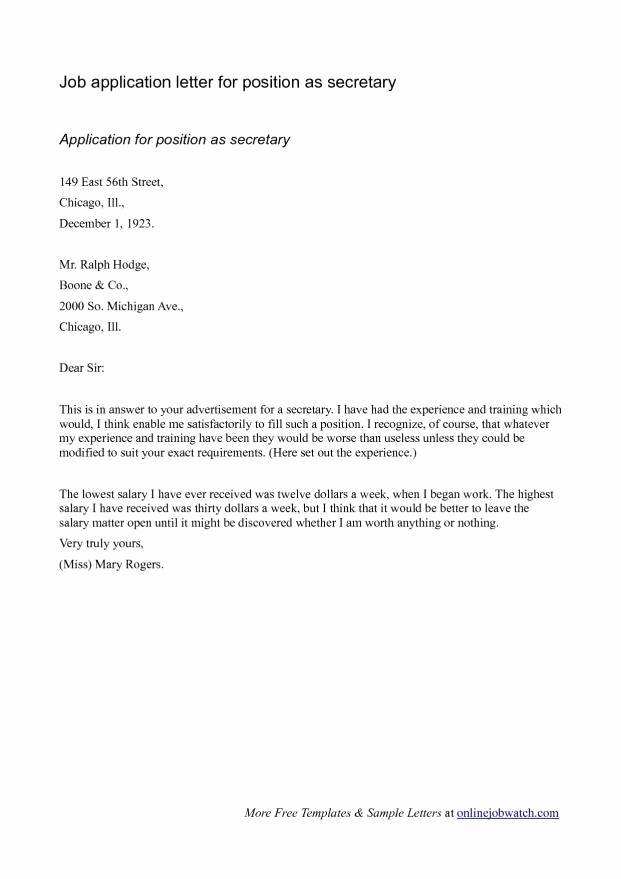 Simple Job Cover Letter Sample Awesome Simple Cover Letter for Job Application