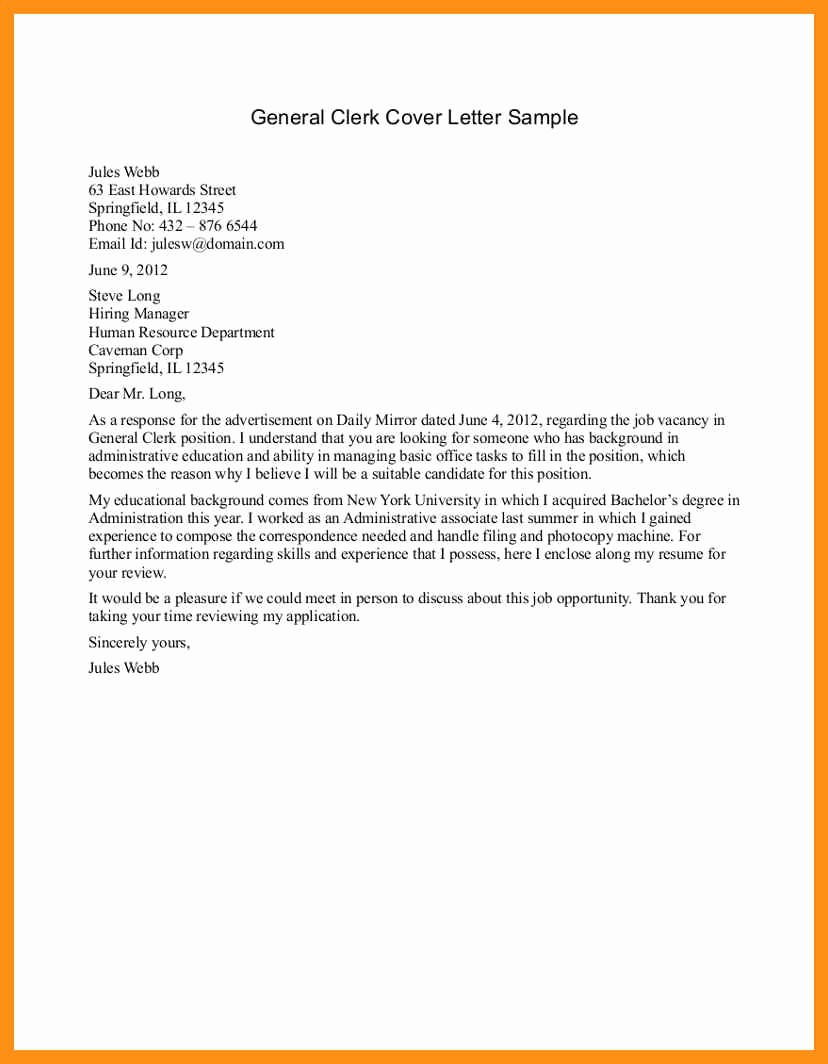 Simple Job Cover Letter Sample Elegant Basic Cover Letter for Any Job