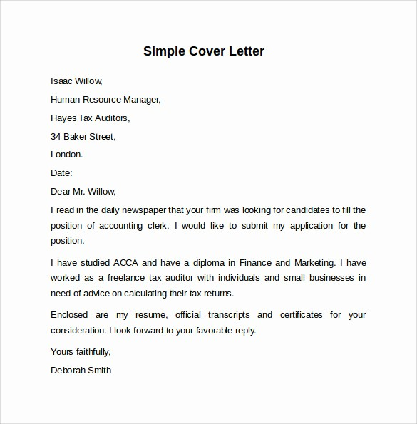 Simple Job Cover Letter Sample Lovely 8 Sample Cover Letter Templates to Download