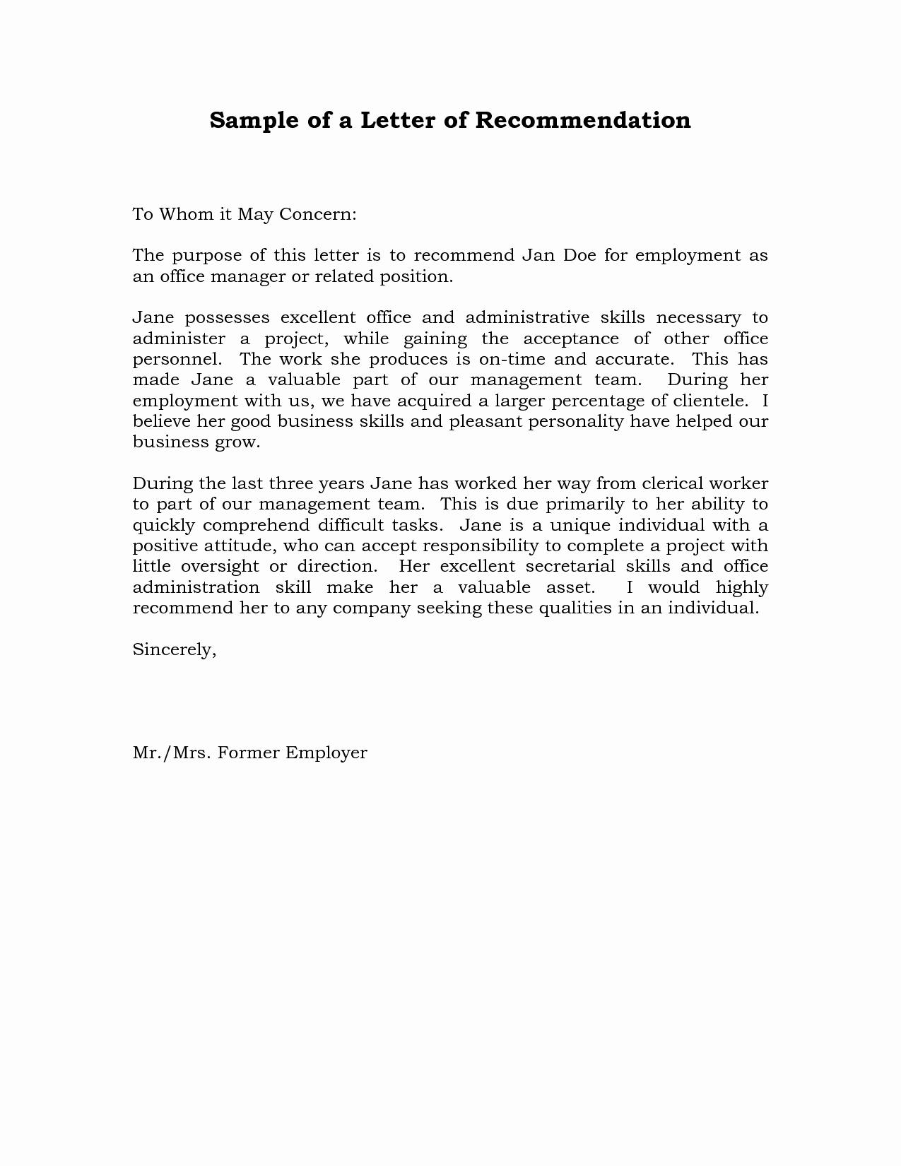 Simple Letter Of Recommendation Sample Elegant Reference Letter Of Re Mendation Sample