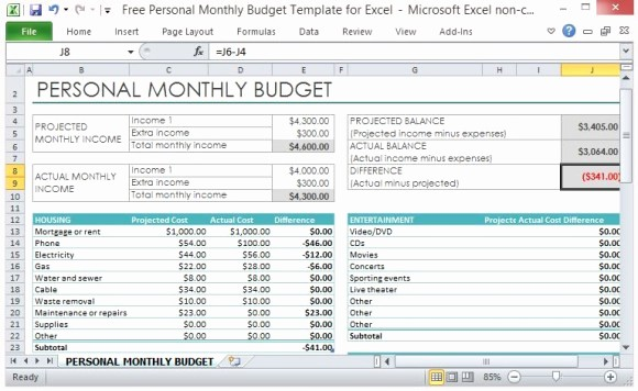 Simple Monthly Budget Template Excel Fresh Free Personal Monthly Bud Template for Excel