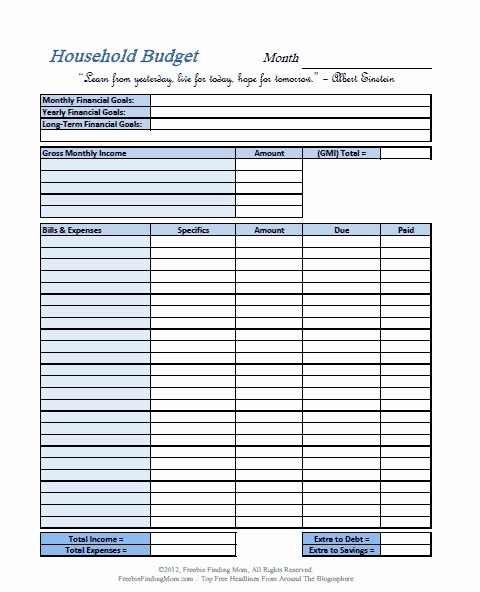 Simple Monthly Household Budget Template Best Of Free Printable Bud Worksheets