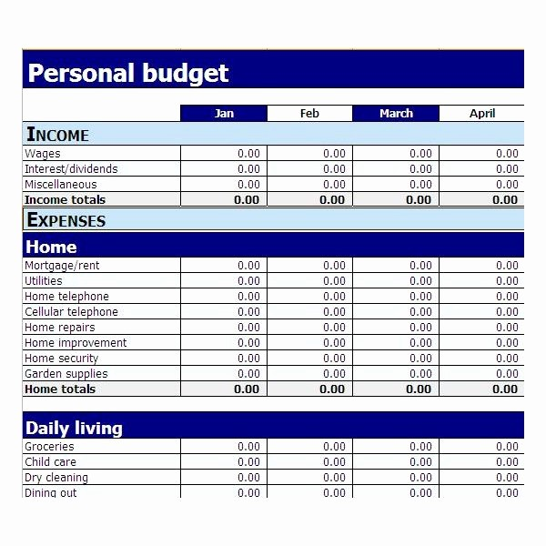 Simple Monthly Household Budget Template Unique Simple Bud Template Excel