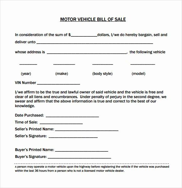 Simple Motorcycle Bill Of Sale Elegant 14 Sample Vehicle Bill Of Sales – Pdf Word