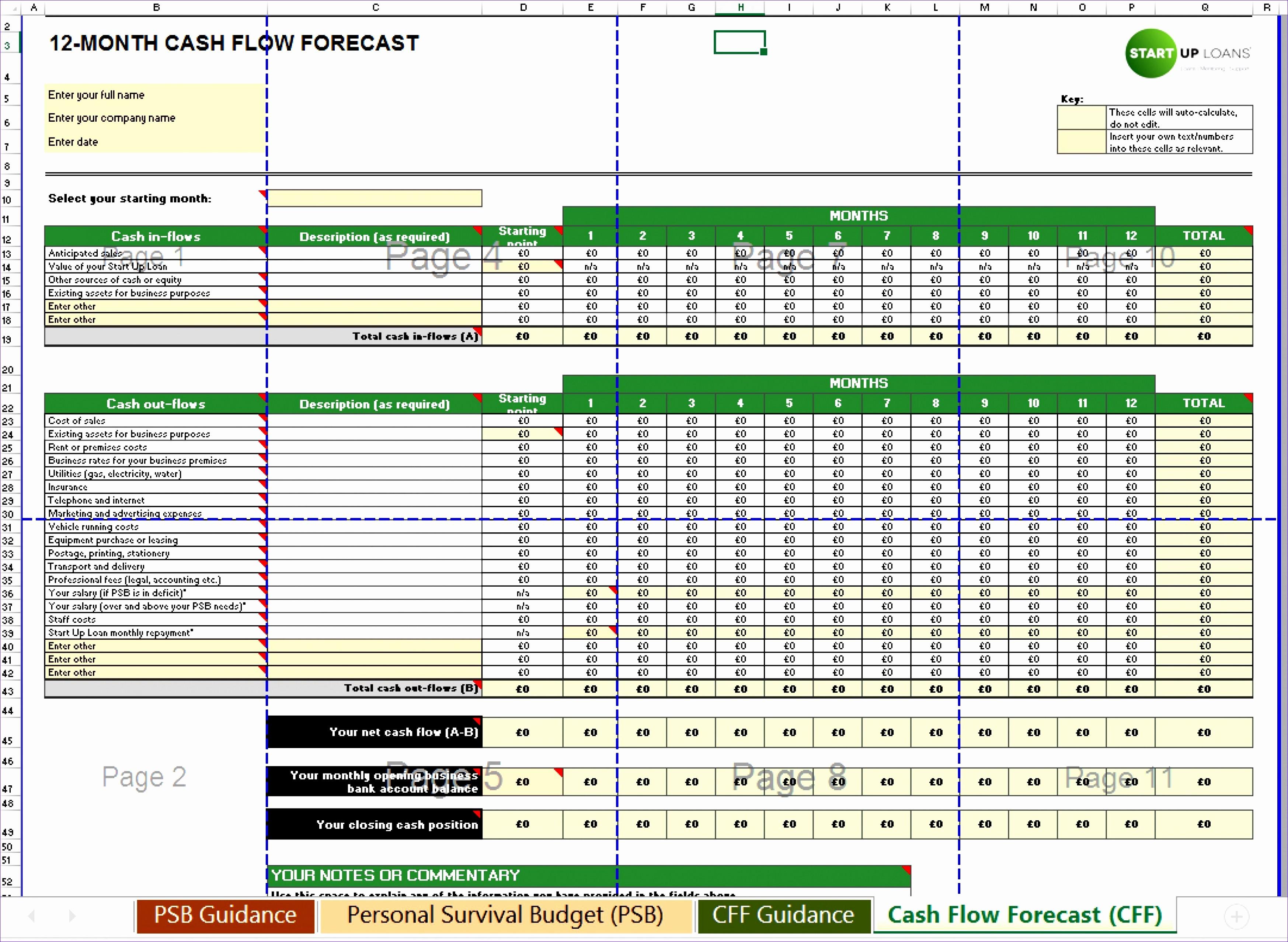 Simple P&l Template Elegant 6 Monthly Cash Flow Template Excel Exceltemplates