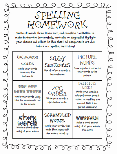 Simple P&l Template Lovely Tic Tac toe Homework Template New Spelling Choice Board