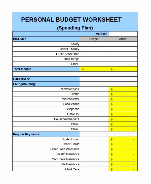Simple Personal Budget Template Excel Awesome Personal Bud Template