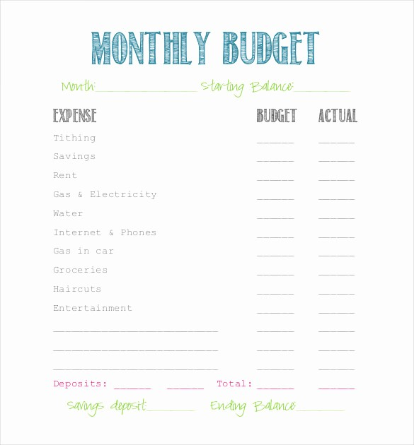 Simple Personal Budget Template Excel Beautiful Simple Bud Template 9 Free Word Excel Pdf