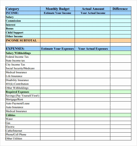 Simple Personal Budget Template Excel Elegant 8 Bud Samples