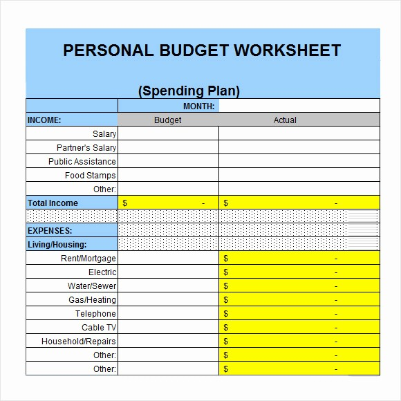 Simple Personal Budget Template Excel Unique 6 Personal Bud Samples