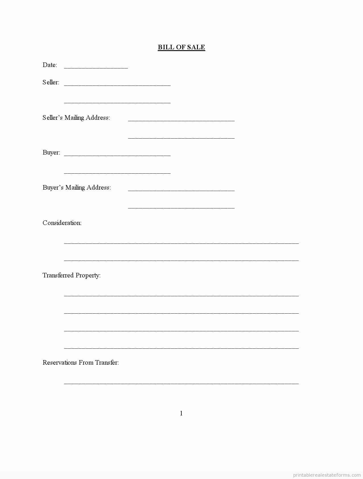 Simple Printable Bill Of Sale Awesome Free Printable Bill Of Sale form Pdf & Word