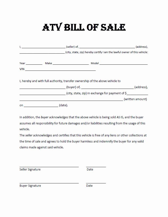 Simple Printable Bill Of Sale Beautiful atv Bill Sale Template