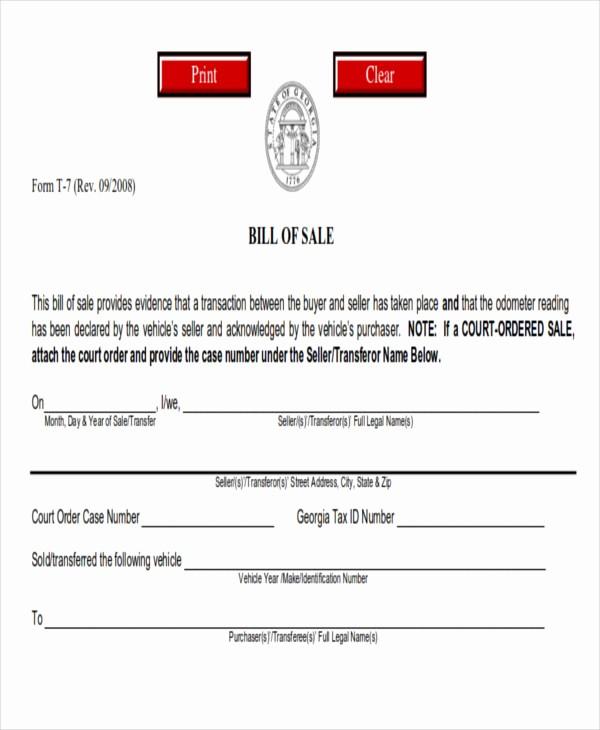 Simple Printable Bill Of Sale Unique 7 Generic Bill Of Sales