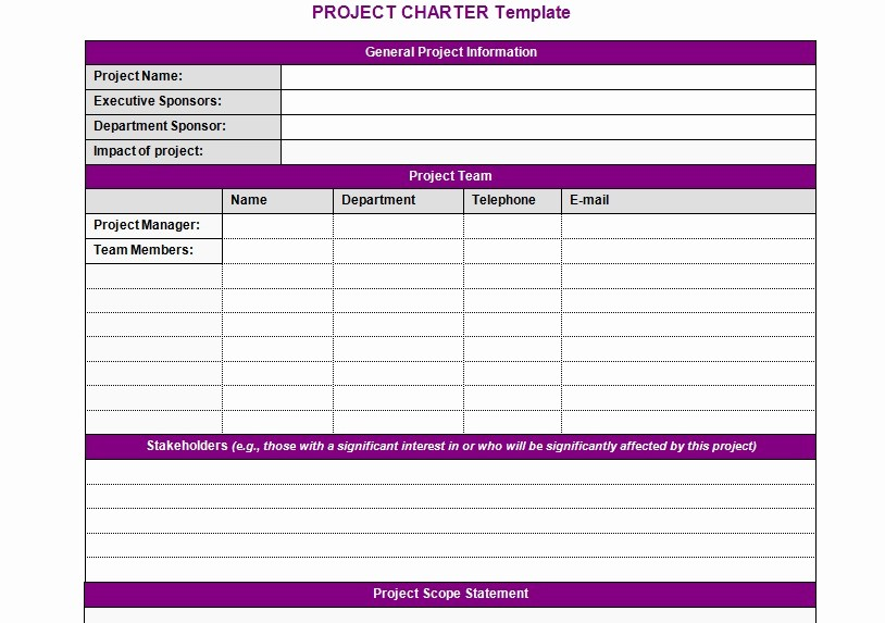Simple Project Management Template Excel Best Of Project Charter Template