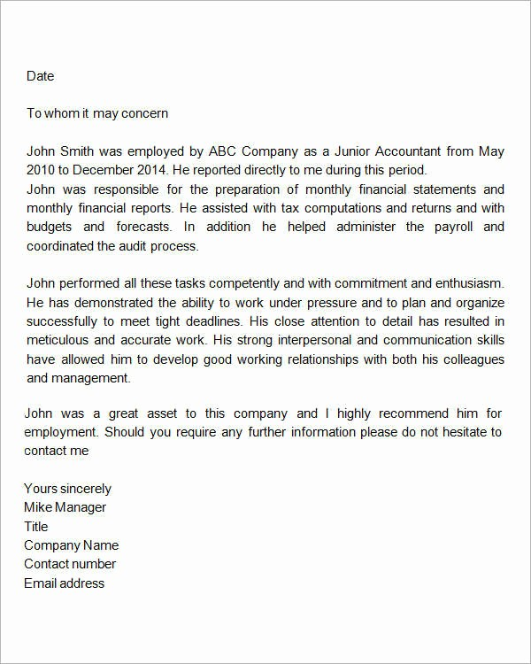 Simple Recommendation Letter for Employee Beautiful 15 Sample Re Mendation Letters for Employment In Word