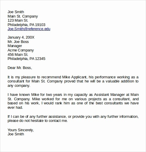 Simple Recommendation Letter for Employee Fresh 27 Letter Of Re Mendation In Word Samples