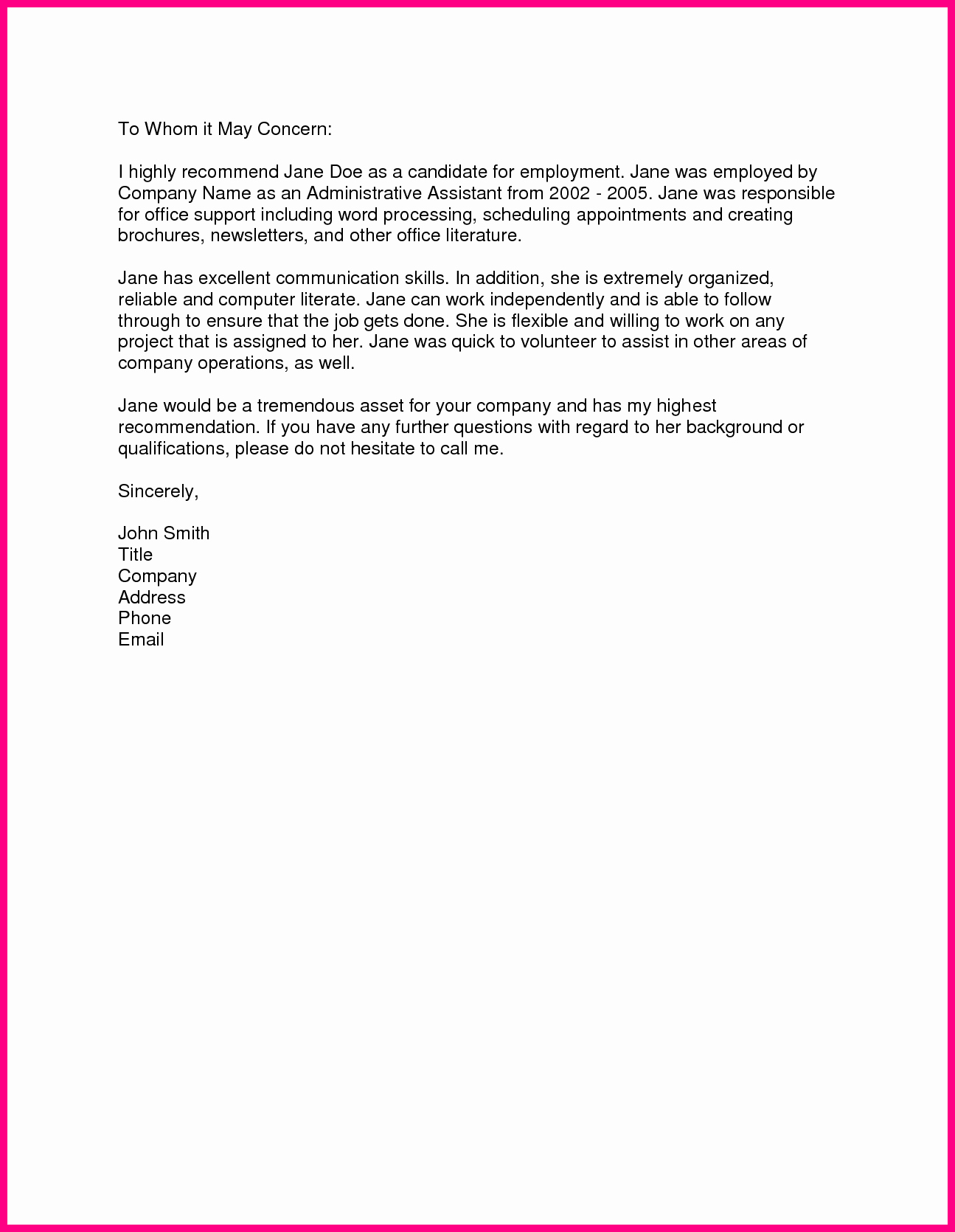 Simple Recommendation Letter for Employee Inspirational Sample Re Mendation Letter From Previous Employer
