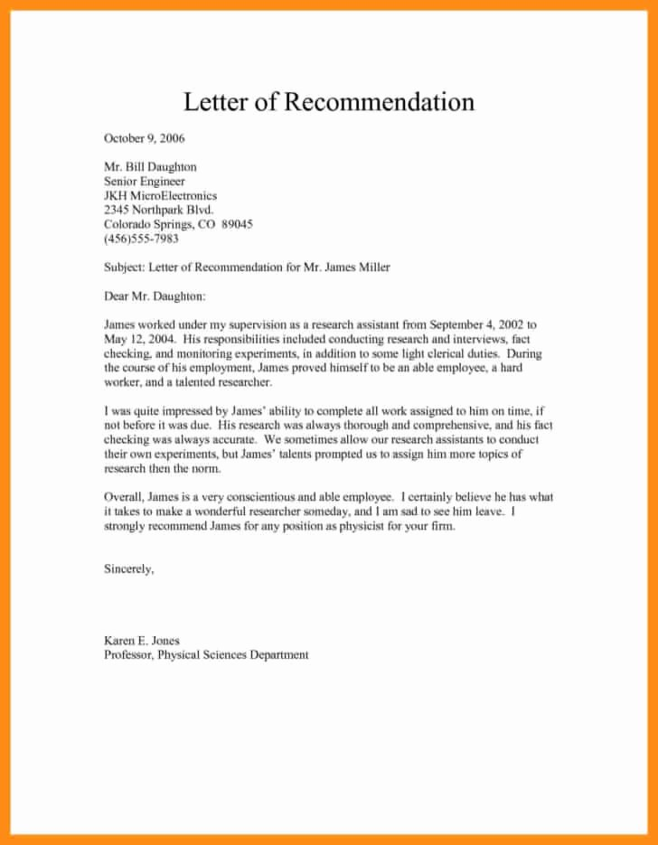 Simple Recommendation Letter for Employment Unique Free Sample Re Mendation Letter for Job Template