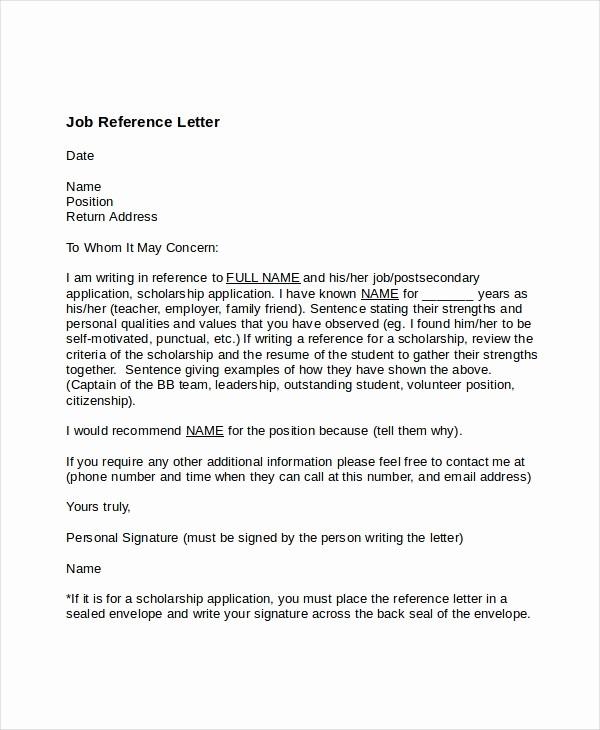 Simple Recommendation Letter for Employment Unique Job Reference Letter