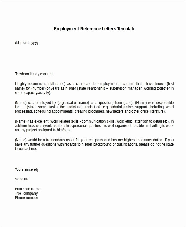 Simple Recommendation Letter for Employment Unique Re Mendation Letter Sample Job