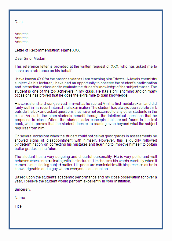 Simple Recommendation Letter for Student Beautiful Re Mendation Letters Help original Papers