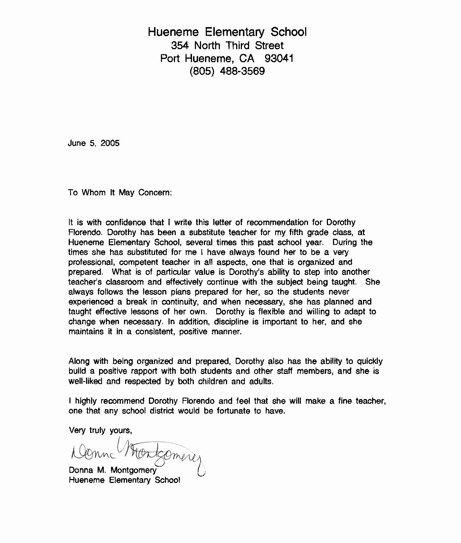 Simple Recommendation Letter for Student Inspirational Re Mendation Letter Sample for Teacher From Student