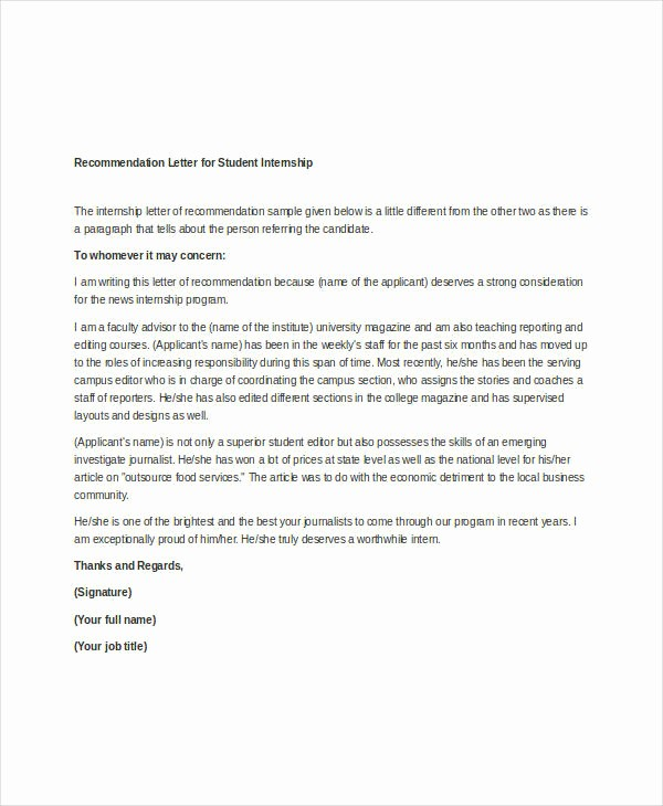 Simple Recommendation Letter for Student Lovely 37 Simple Re Mendation Letter Template Free Word Pdf