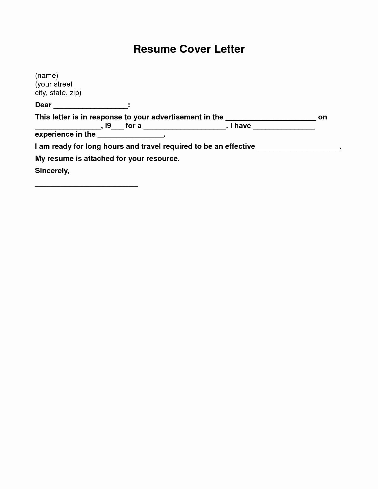 Simple Resume Cover Letter Examples Lovely Basic Cover Letter for A Resume