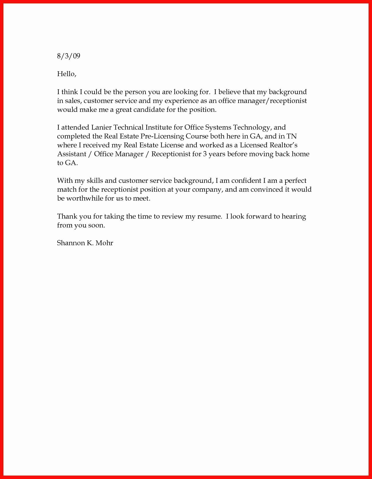 Simple Resume Cover Letter Samples Elegant Basic Cover Letter Sample