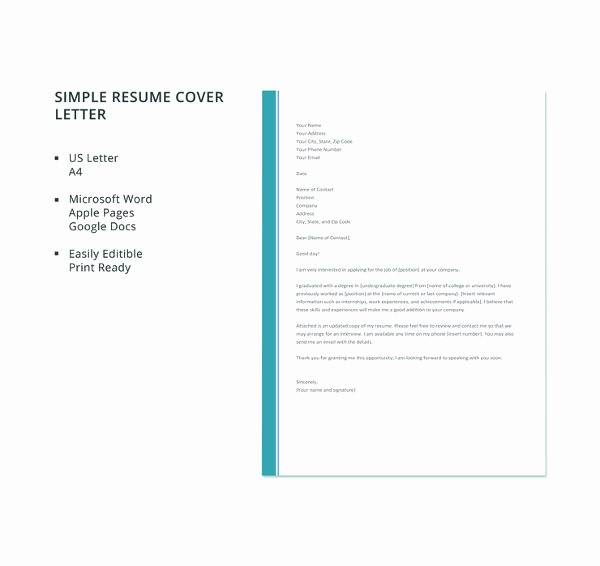 Simple Resume Cover Letter Template Beautiful 51 Simple Cover Letter Templates Pdf Doc