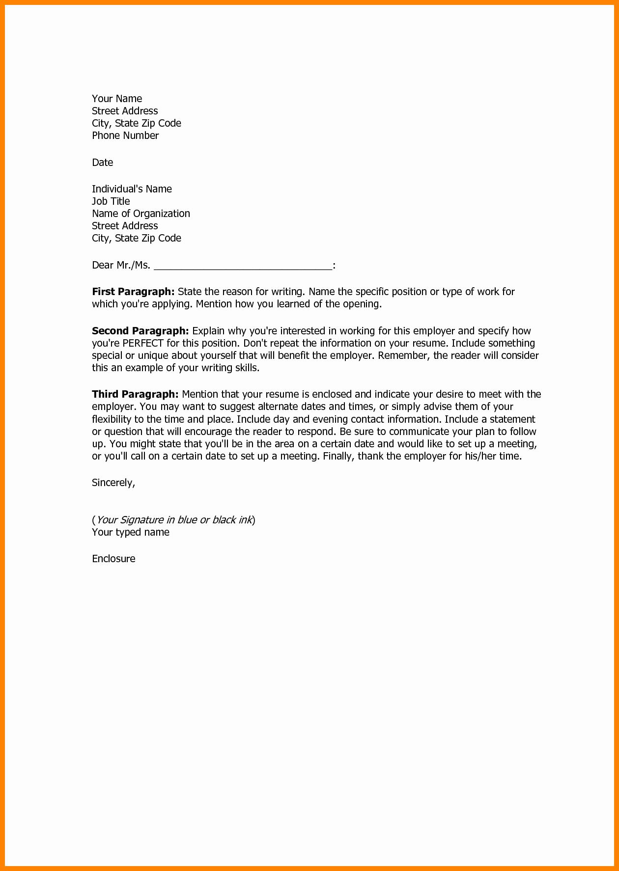 Simple Resume Cover Letter Template Best Of 17 Sample Basic Cover Letter