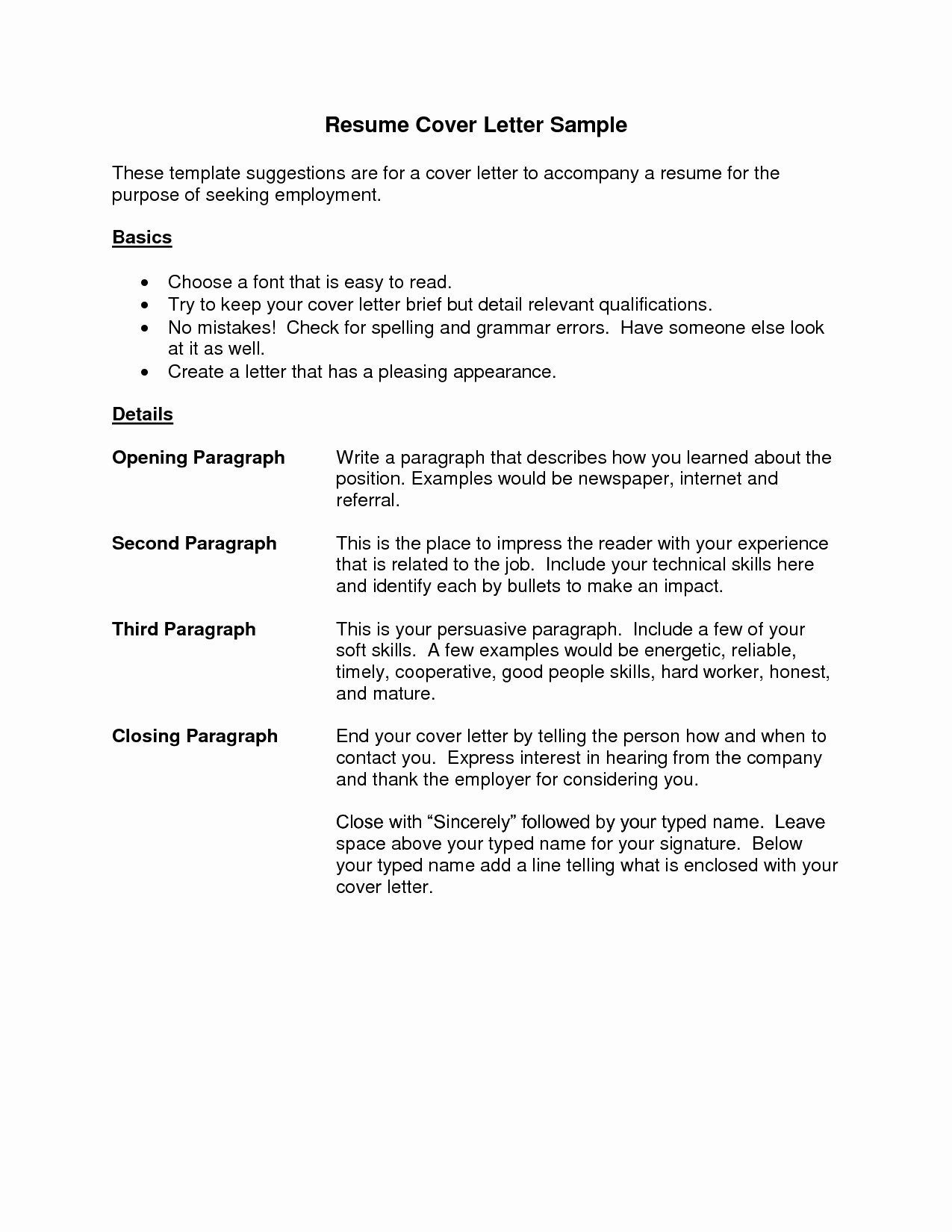 Simple Resume Cover Letter Template Elegant Example Cover Letter for Resume Template