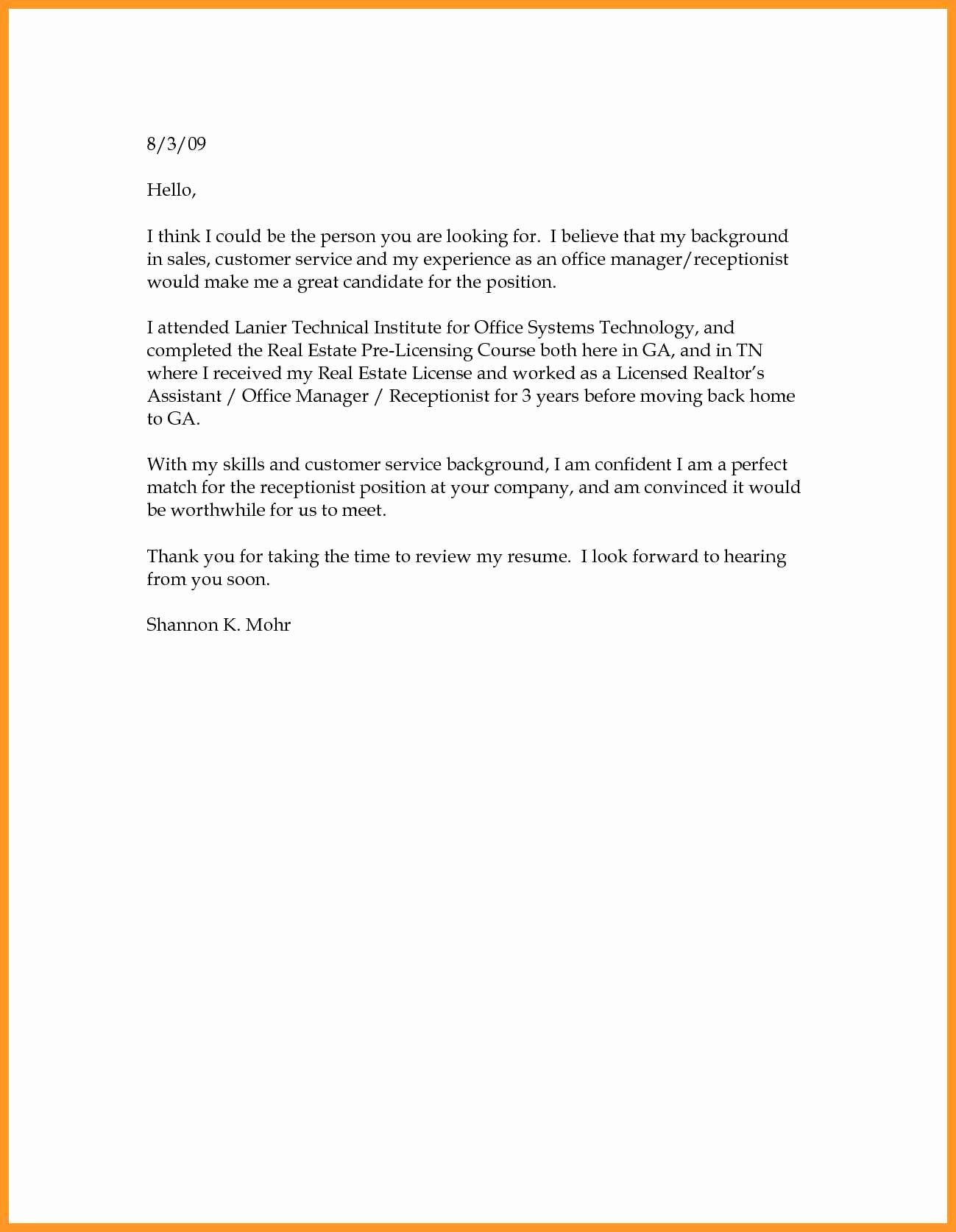 Simple Resume Cover Letter Template Fresh Simple Cover Letter Template Oursearchworld