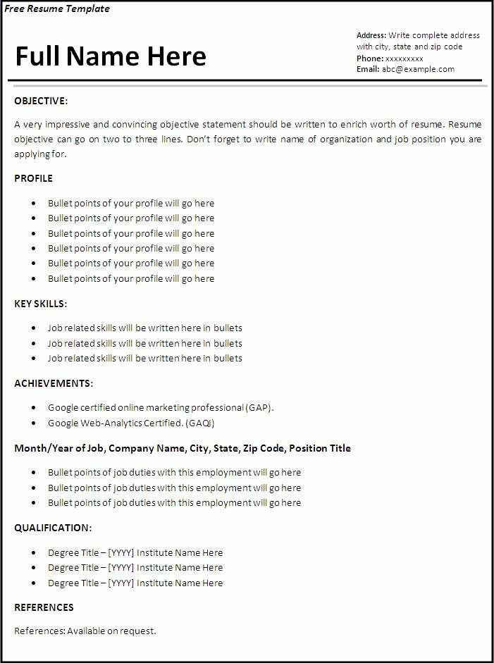 Simple Resume Examples for Jobs Best Of Sample Job Resume Template Job Resume form Monogramaco