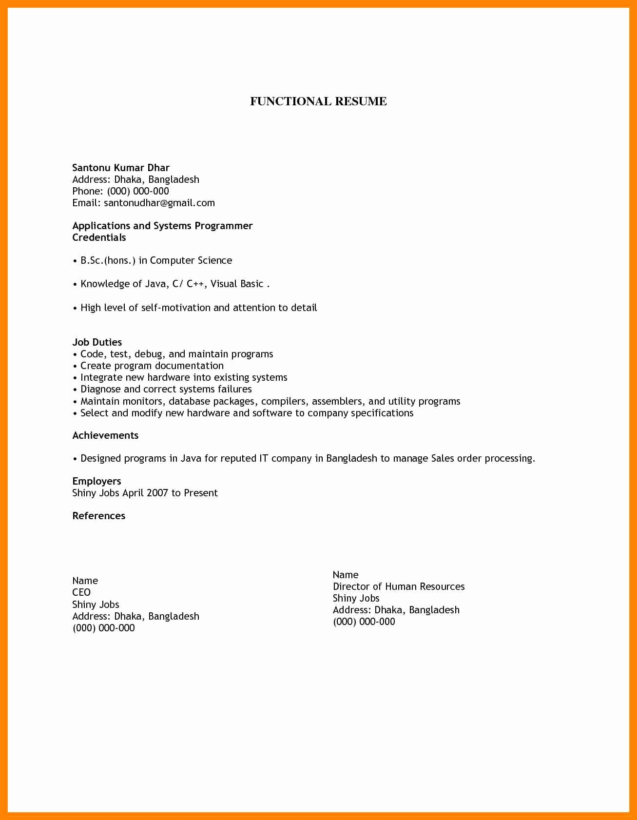 Simple Resume Examples for Jobs New 8 Easy Resume format Sample ...