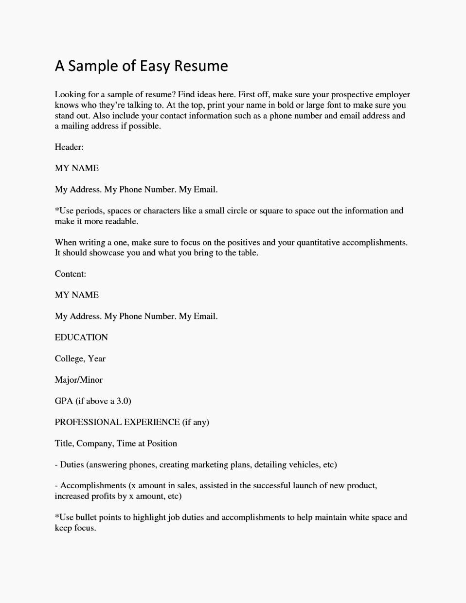 Simple Resume Examples for Jobs New Easy Job Resume Samples Resume Template