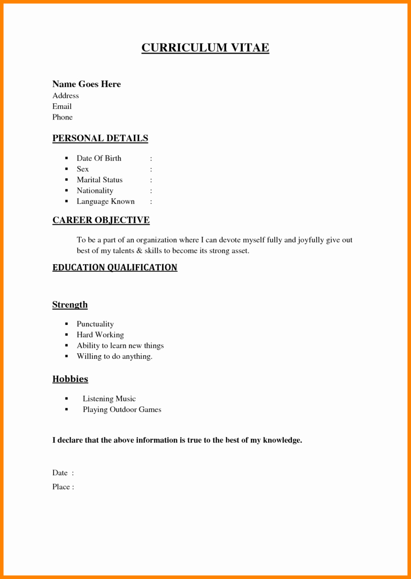 Simple Resume Examples for Jobs Unique Basic Resume Samples for Students – Perfect Resume format