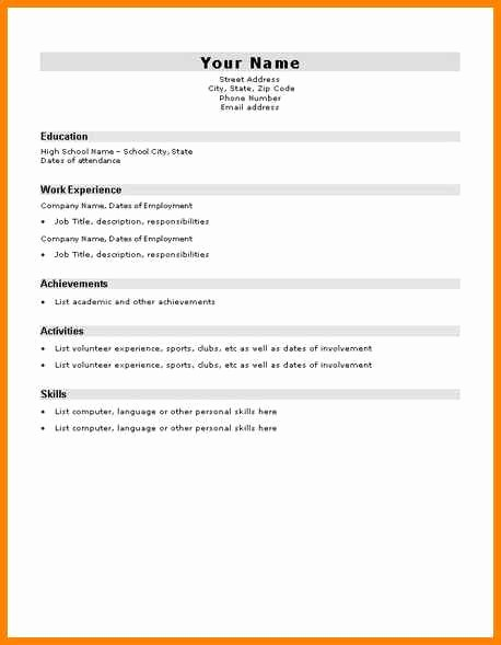 Simple Resume Examples for Students Beautiful 10 Easy Cv Template for Students