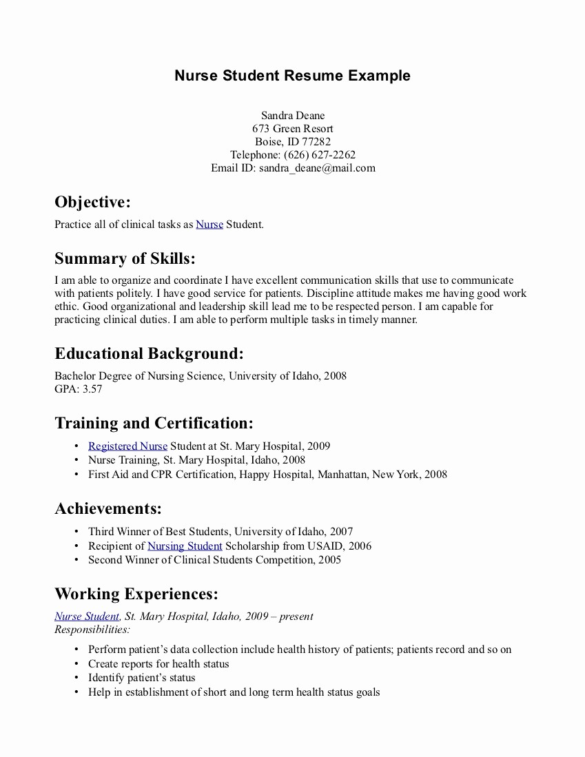 Simple Resume Examples for Students Beautiful Simple Nursing Resume Sample Samplebusinessresume