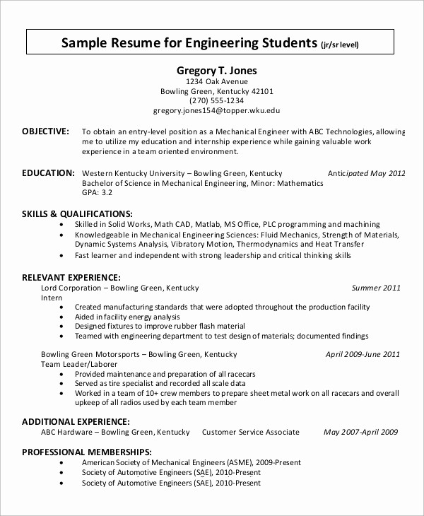 Simple Resume Examples for Students Elegant 9 Simple Resume Examples