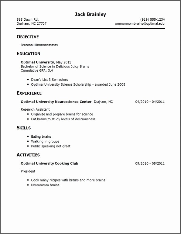 Simple Resume Examples for Students Fresh Teenage Resume Template