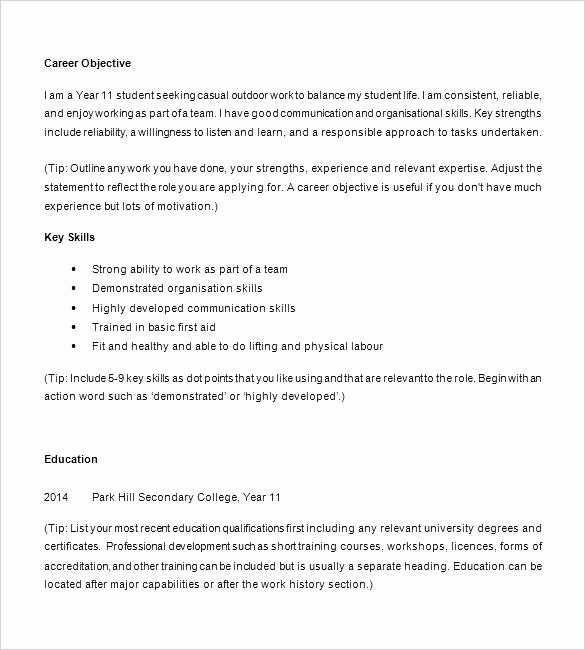 Simple Resume Examples for Students Lovely Simple Resume Examples for Students format Decoration