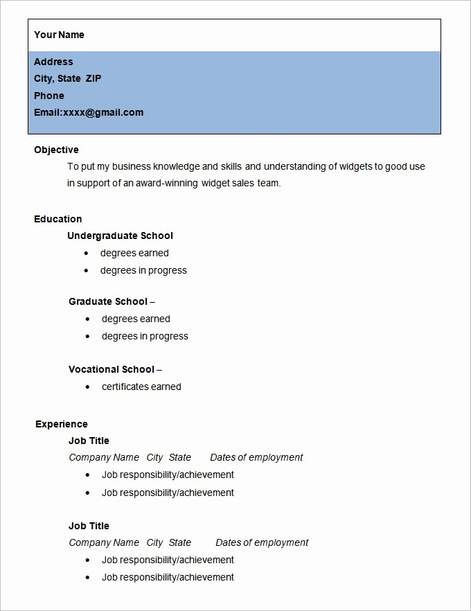 Simple Resume Examples for Students Lovely Simple Resume Template 46 Free Samples Examples